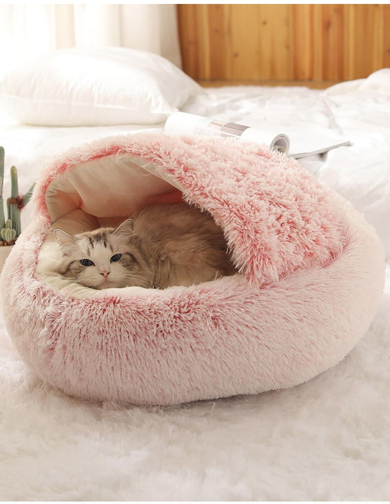 HOOPET New Style Pet Dog Cat Bed Round Plush Cat Warm Bed House Soft Long Plush Bed For Small Dogs For Cats Nest 2 In 1 Cat Bed