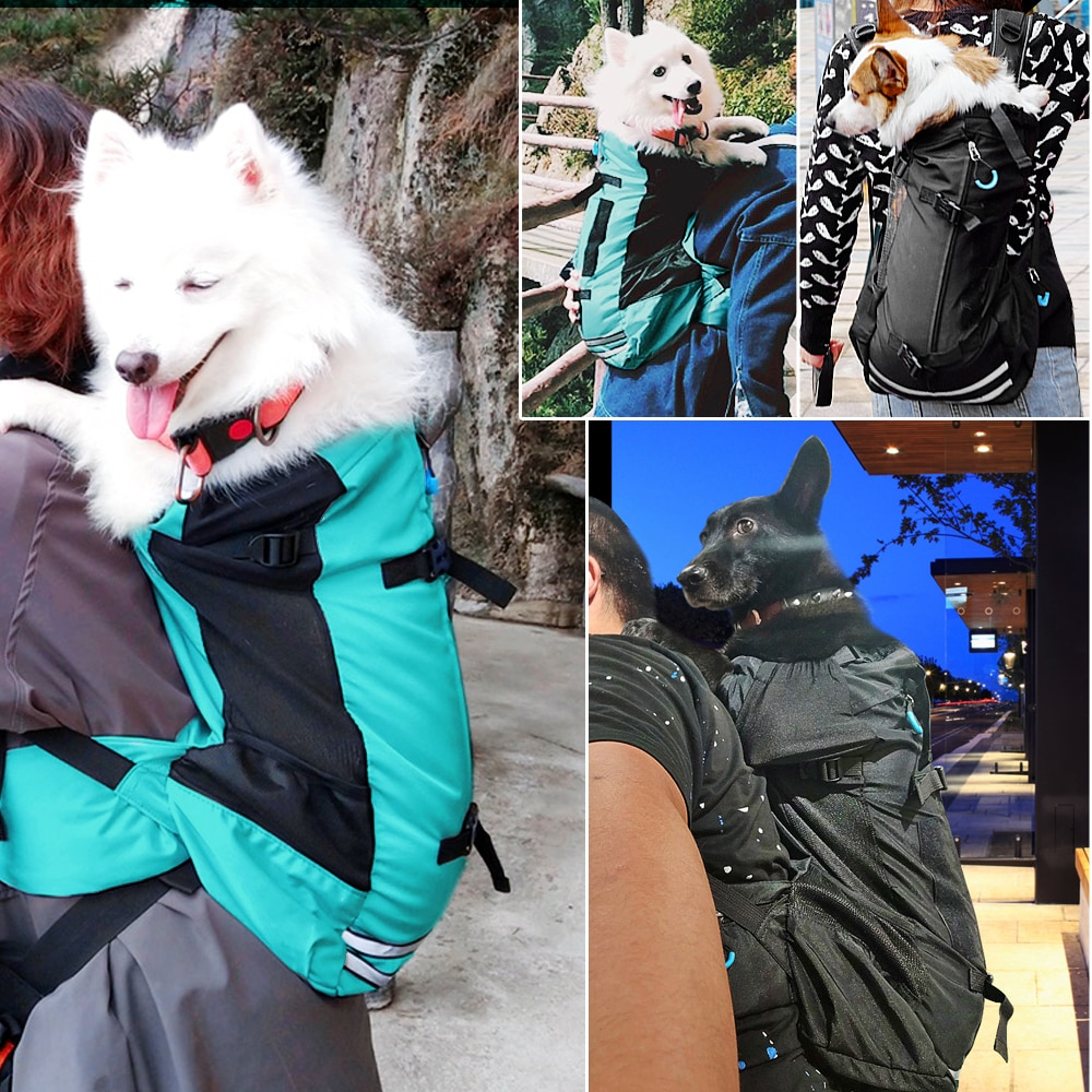 Outdoor Pet Dog Carrier Bag for Small Medium Dogs Corgi Bulldog Backpack Reflective Dog Travel Bags Pets Products