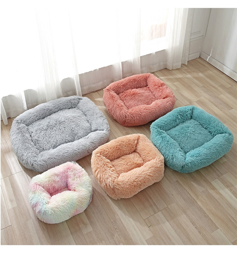 Dog Bed Sofa Long Plush Square Kennel Winter Warm Puppy Mat Cat Nest Soft House Non-slip Basket Cushion for Dogs Pet Supplies